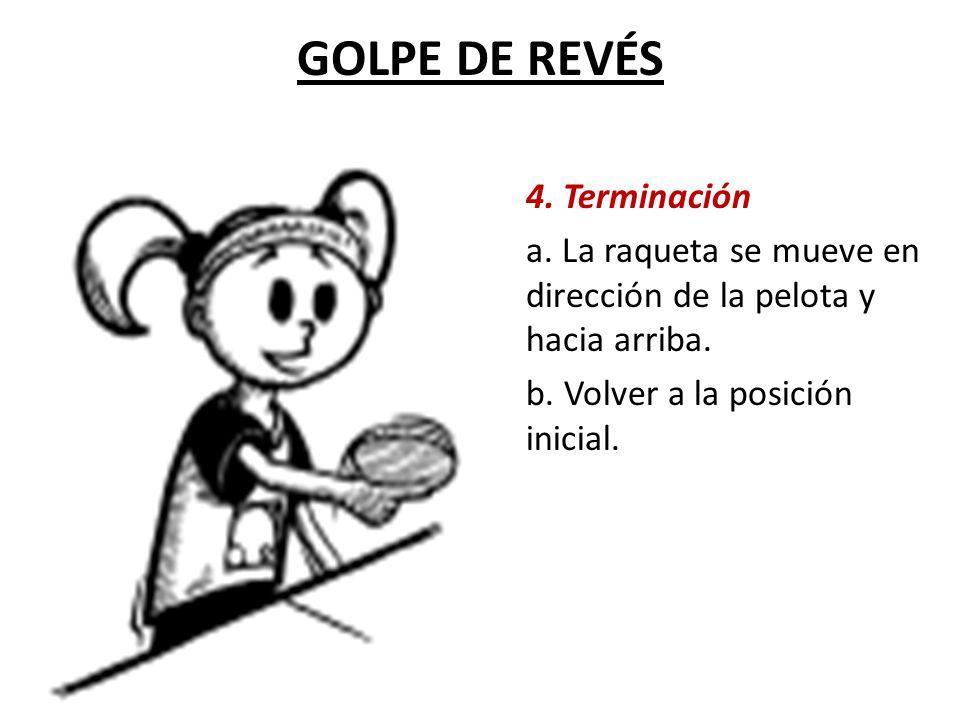 GOLPE DE REVÉS 4.Terminación a. La raqueta se mueve en dirección de la pelota y hacia arriba.