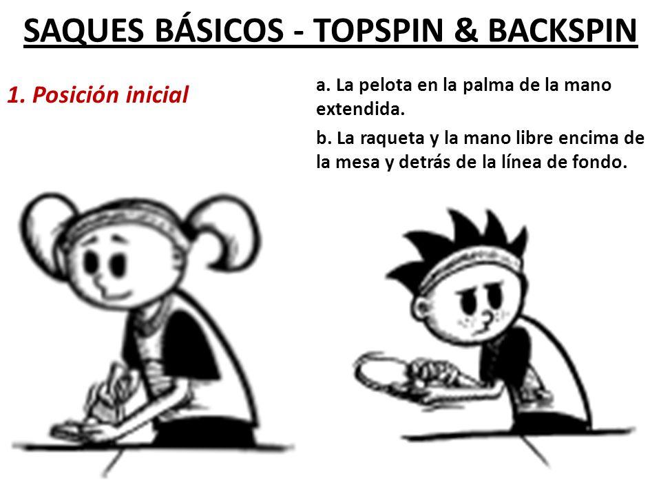 SAQUES BÁSICOS - TOPSPIN & BACKSPIN 1.Posición inicial a.