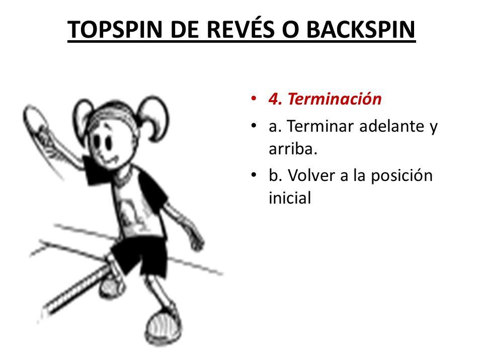 TOPSPIN DE REVÉS O BACKSPIN 4.Terminación a. Terminar adelante y arriba.