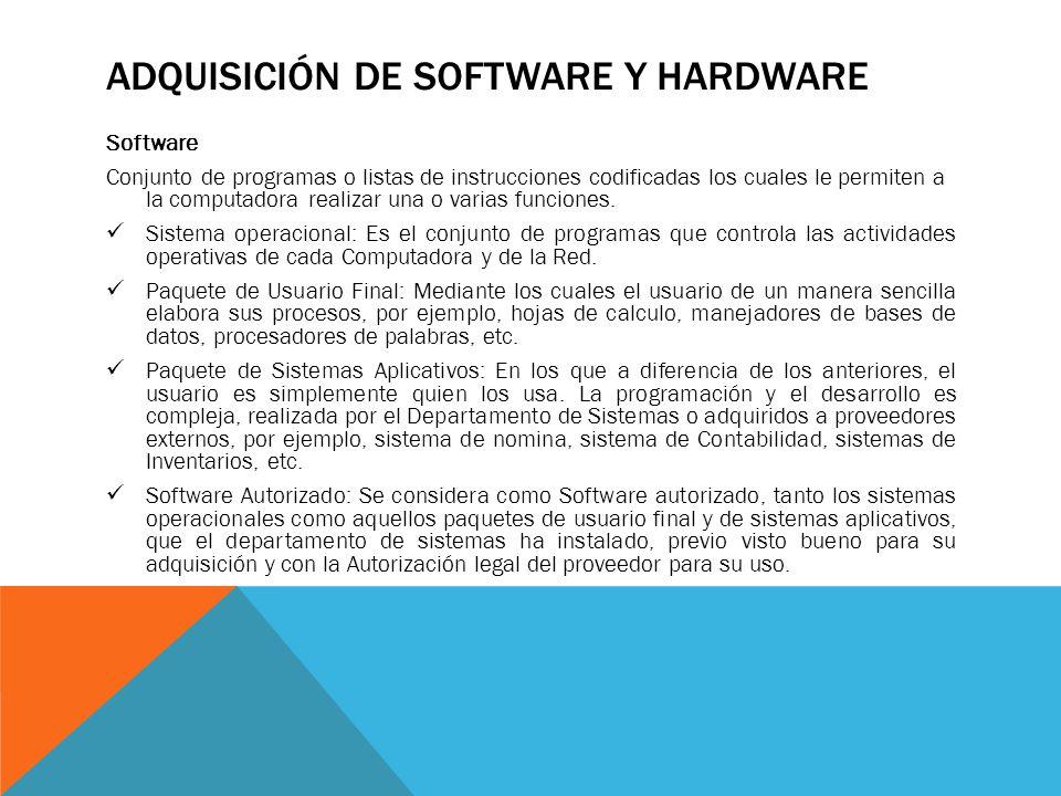 ADQUISICIÓN DE SOFTWARE Y HARDWARE Software Conjunto de programas o listas de instrucciones codificadas los cuales le permiten a la computadora realizar una o varias funciones.