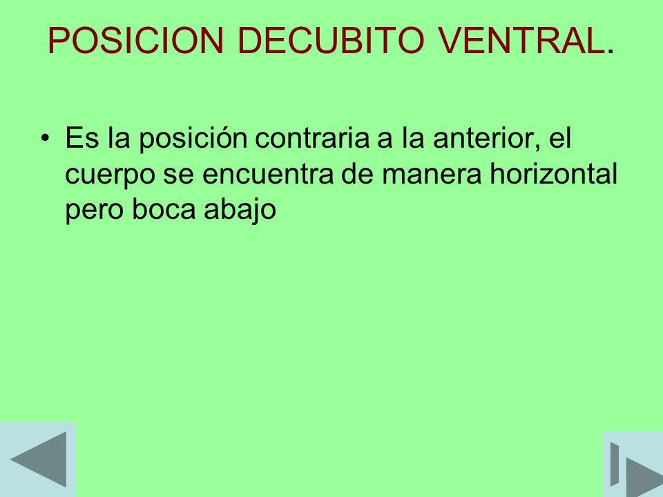 POSICION DECUBITO VENTRAL. Es la posición contraria a la anterior, el cuerpo se encuentra de manera horizontal pero boca abajo