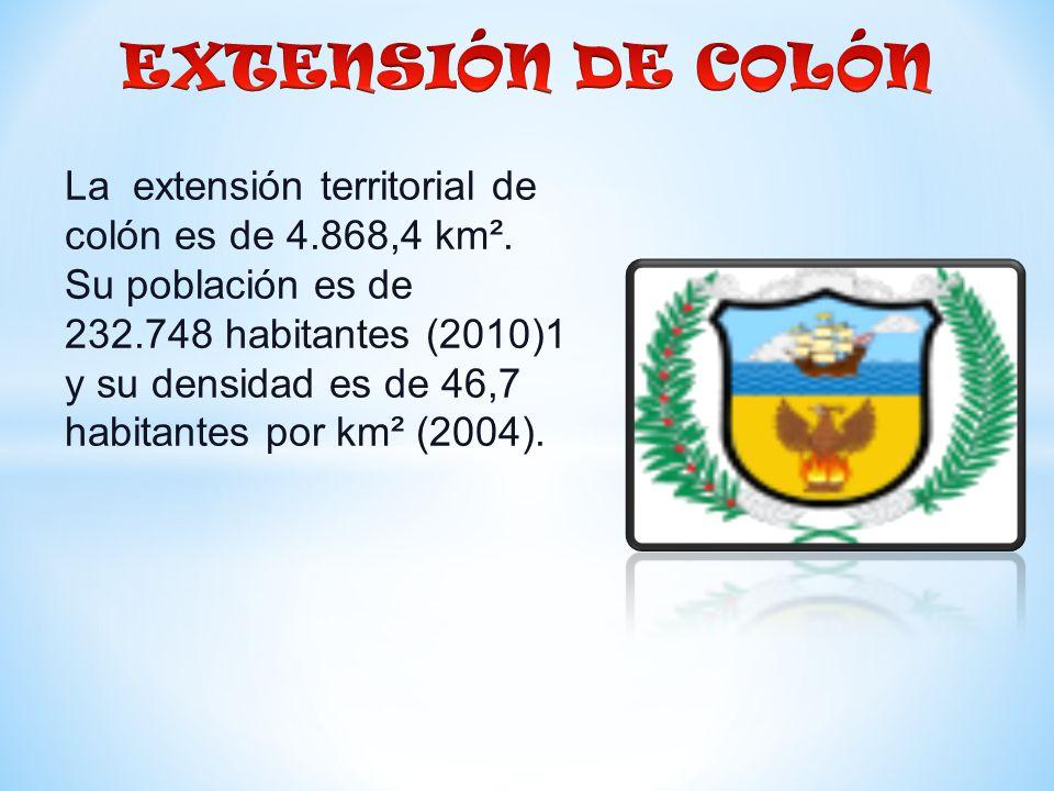 La extensión territorial de colón es de 4.868,4 km².