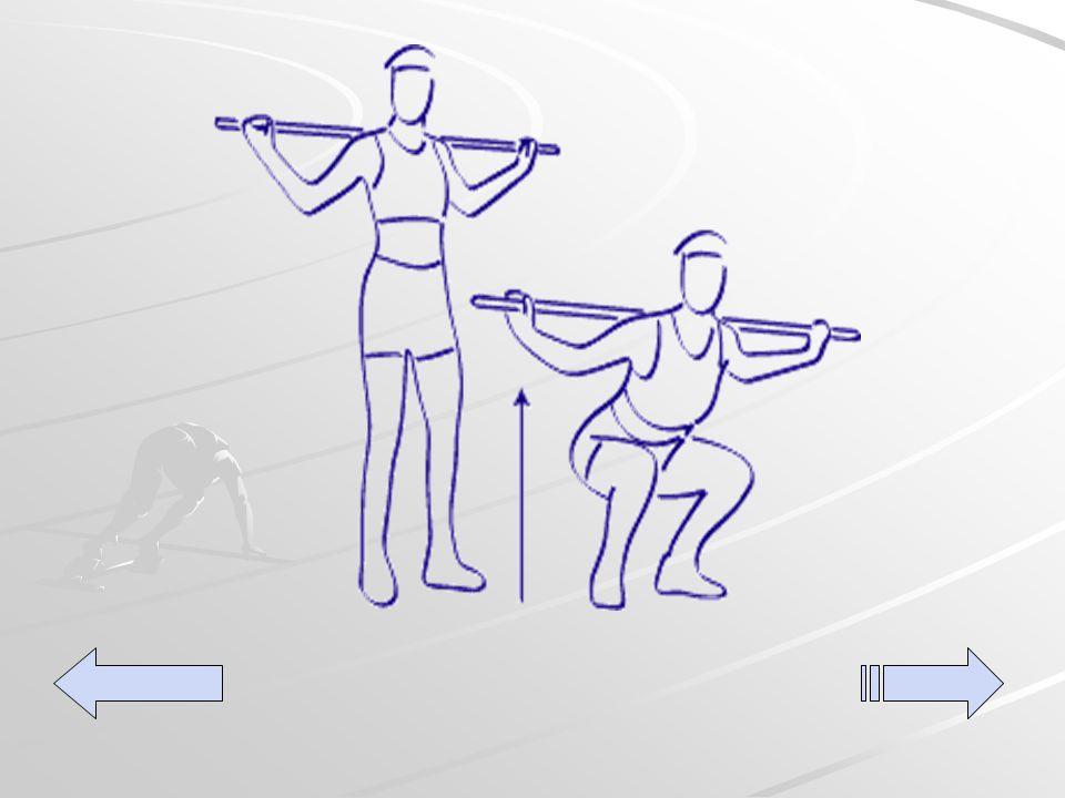 Sentidillas De pie con las piernas separadas a la anchura de los hombros y una barra sujeta por los extremos y apoyada sobre los hombros.