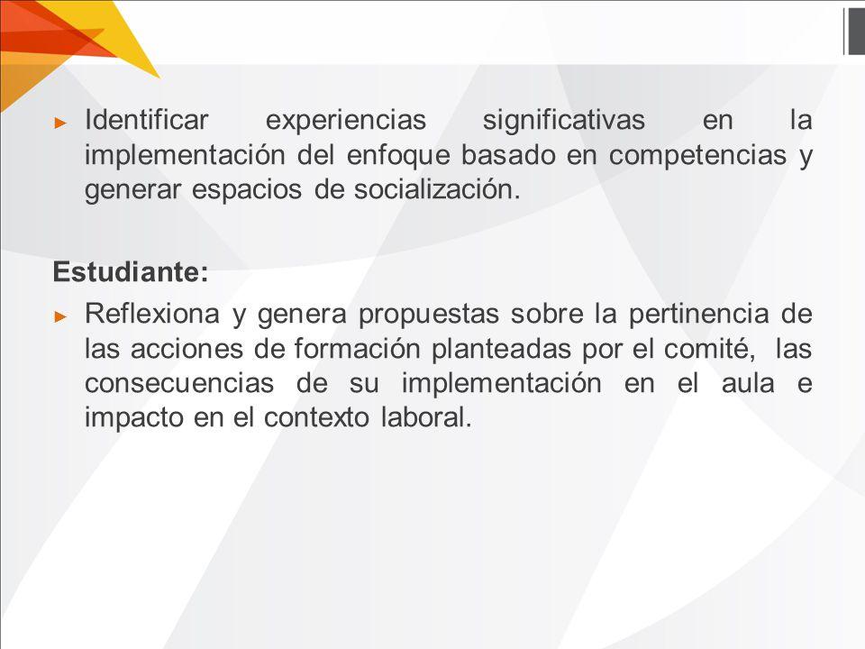 ► Identificar experiencias significativas en la implementación del enfoque basado en competencias y generar espacios de socialización.