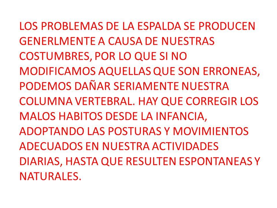 LOS PROBLEMAS DE LA ESPALDA SE PRODUCEN GENERLMENTE A CAUSA DE NUESTRAS COSTUMBRES, POR LO QUE SI NO MODIFICAMOS AQUELLAS QUE SON ERRONEAS, PODEMOS DA