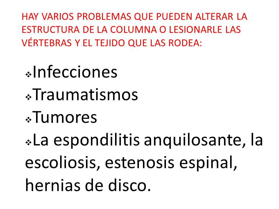 HAY VARIOS PROBLEMAS QUE PUEDEN ALTERAR LA ESTRUCTURA DE LA COLUMNA O LESIONARLE LAS VÉRTEBRAS Y EL TEJIDO QUE LAS RODEA:  Infecciones  Traumatismos