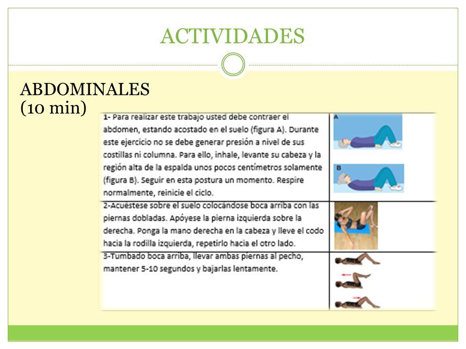 ACTIVIDADES ABDOMINALES (10 min)