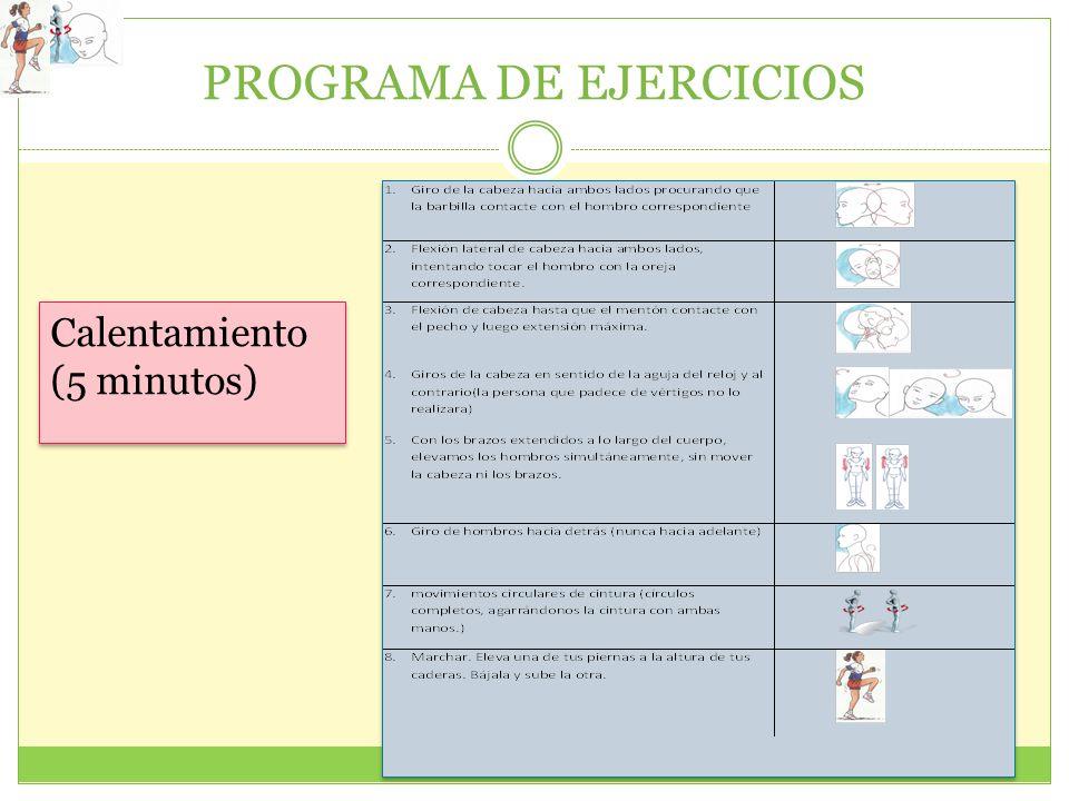 PROGRAMA DE EJERCICIOS Calentamiento (5 minutos)