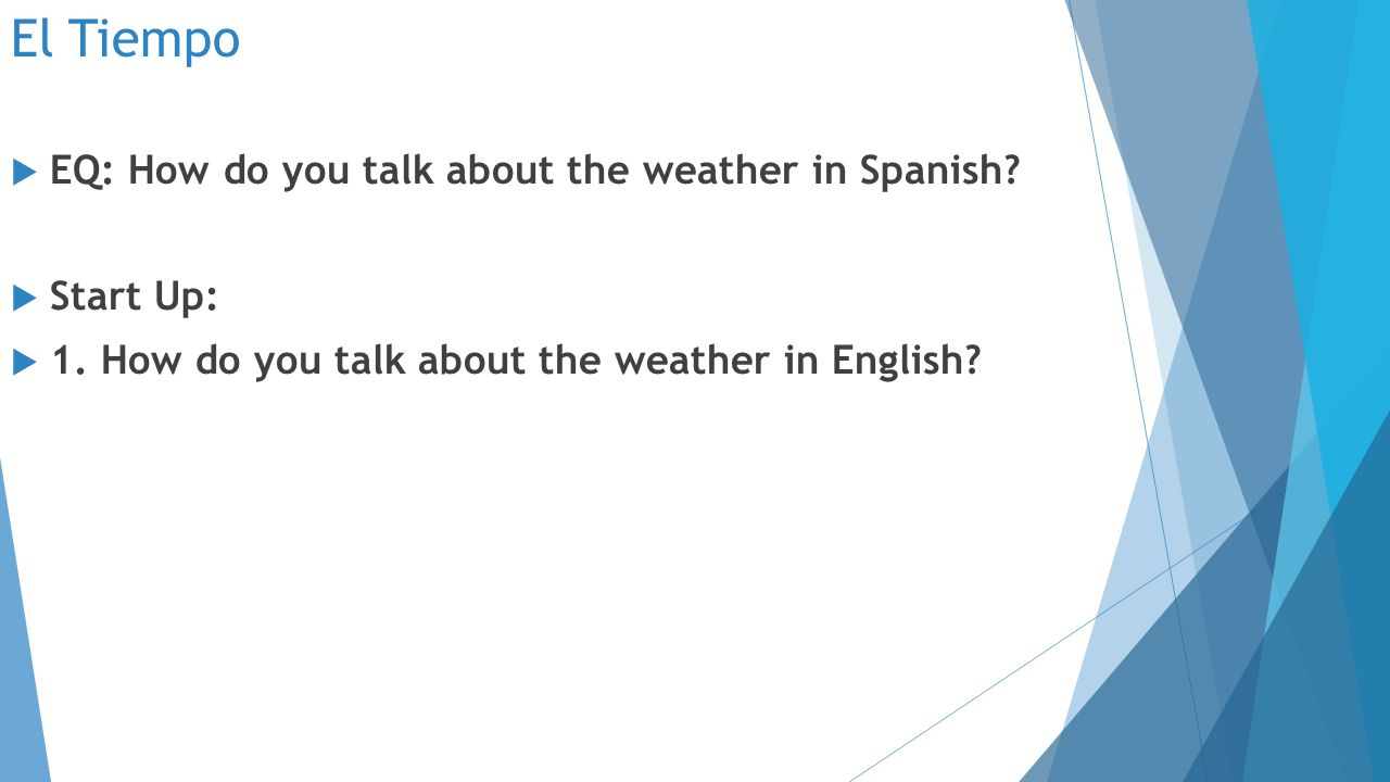 El Tiempo  EQ: How do you talk about the weather in Spanish.