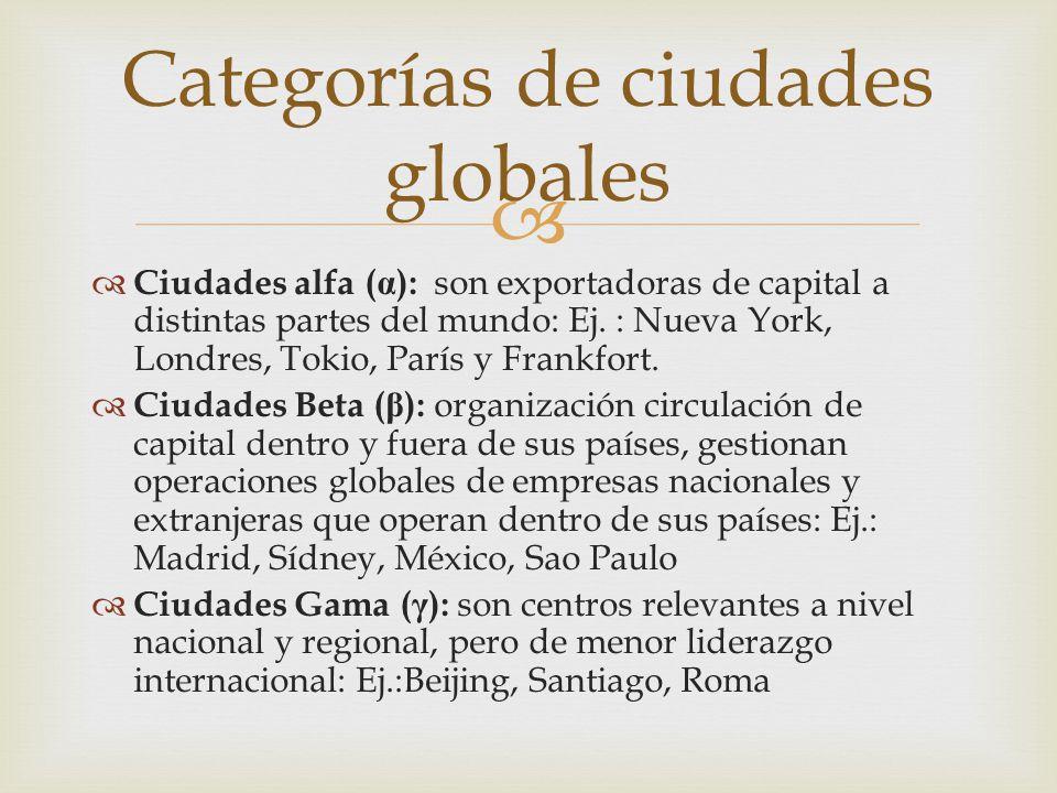   Ciudades alfa ( α ): son exportadoras de capital a distintas partes del mundo: Ej. : Nueva York, Londres, Tokio, París y Frankfort.  Ciudades Bet