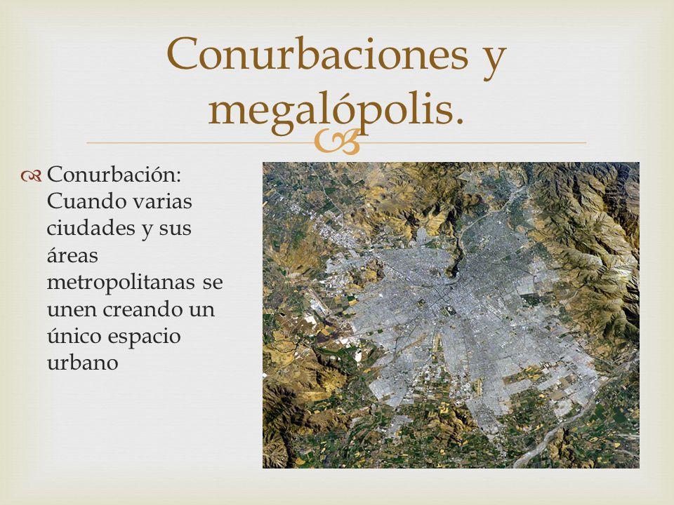   Conurbación: Cuando varias ciudades y sus áreas metropolitanas se unen creando un único espacio urbano Conurbaciones y megalópolis.