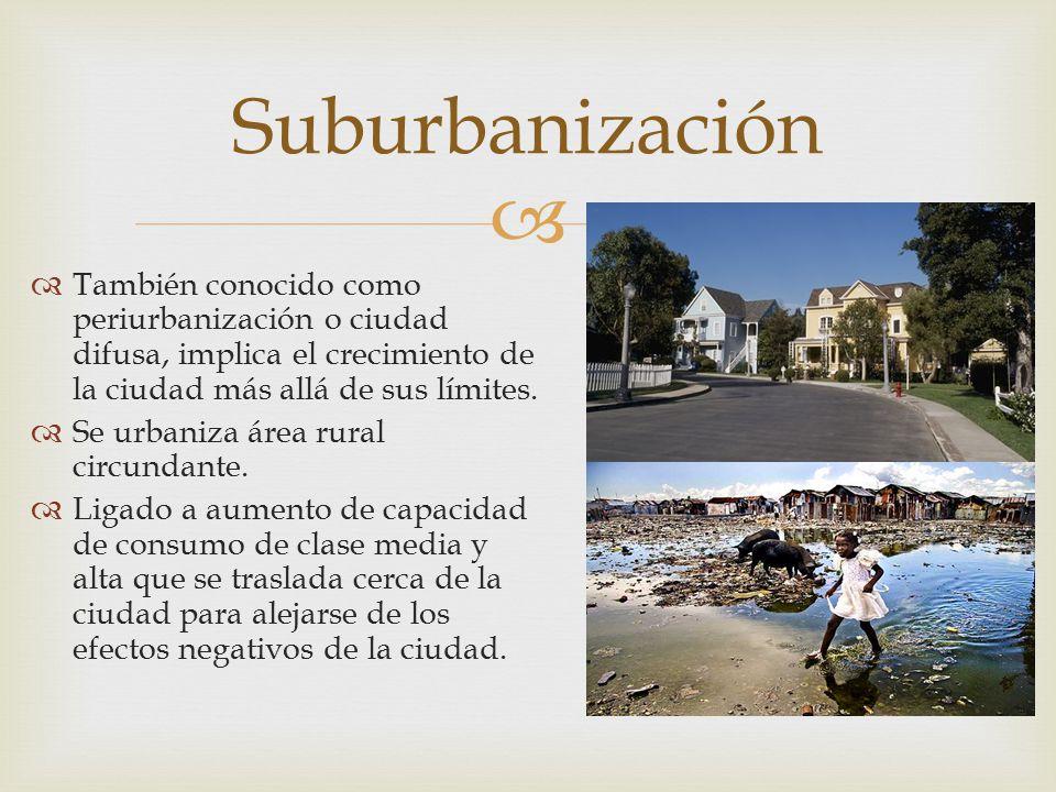   También conocido como periurbanización o ciudad difusa, implica el crecimiento de la ciudad más allá de sus límites.  Se urbaniza área rural circ