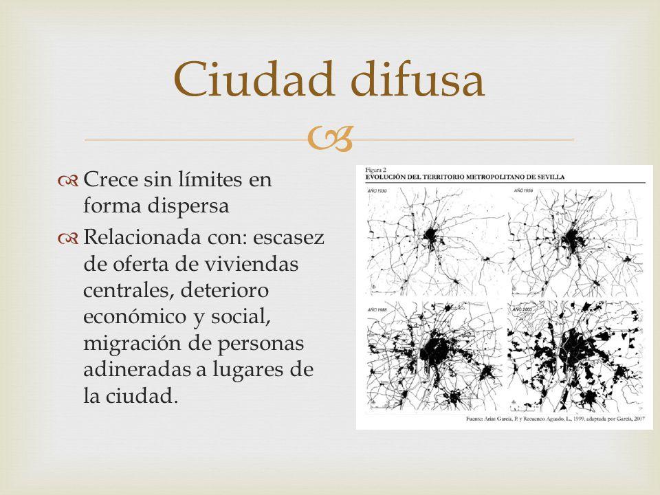   Crece sin límites en forma dispersa  Relacionada con: escasez de oferta de viviendas centrales, deterioro económico y social, migración de person
