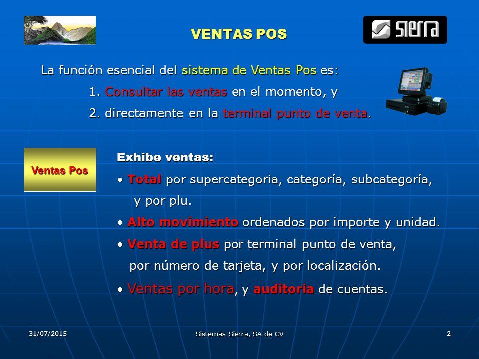 31/07/2015 Sistemas Sierra, SA de CV 2 VENTAS POS VENTAS POS La función esencial del sistema de Ventas Pos es: 1.