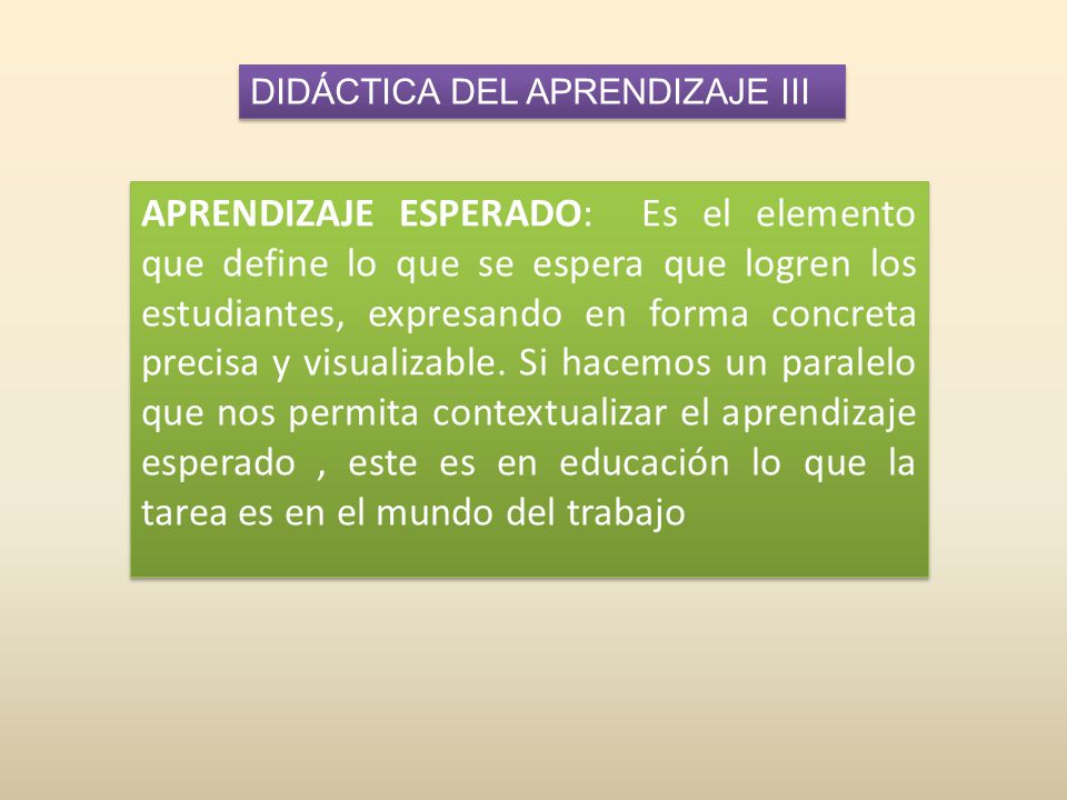 DIDÁCTICA DEL APRENDIZAJE III APRENDIZAJE ESPERADO: Es el elemento que define lo que se espera que logren los estudiantes, expresando en forma concreta precisa y visualizable.
