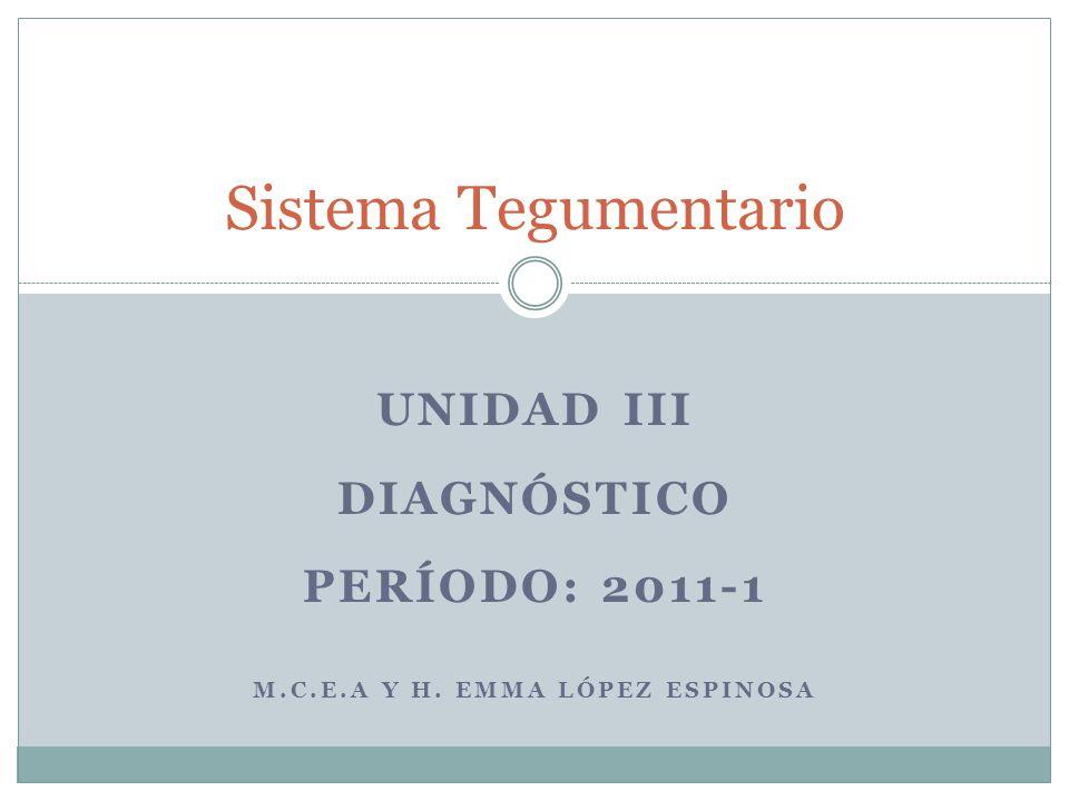 UNIDAD III DIAGNÓSTICO PERÍODO: 2011-1 M.C.E.A Y H. EMMA LÓPEZ ESPINOSA Sistema Tegumentario