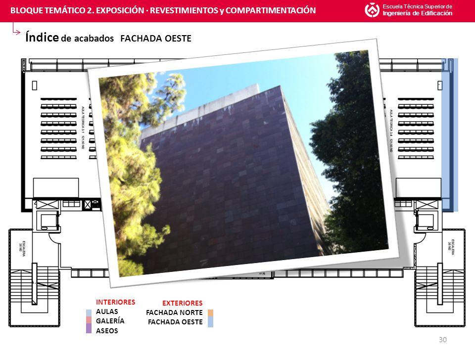 Índice de acabados FACHADA OESTE Escuela Técnica Superior de Ingeniería de Edificación 30 INTERIORES AULAS GALERÍA ASEOS EXTERIORES FACHADA NORTE FACHADA OESTE BLOQUE TEMÁTICO 2.