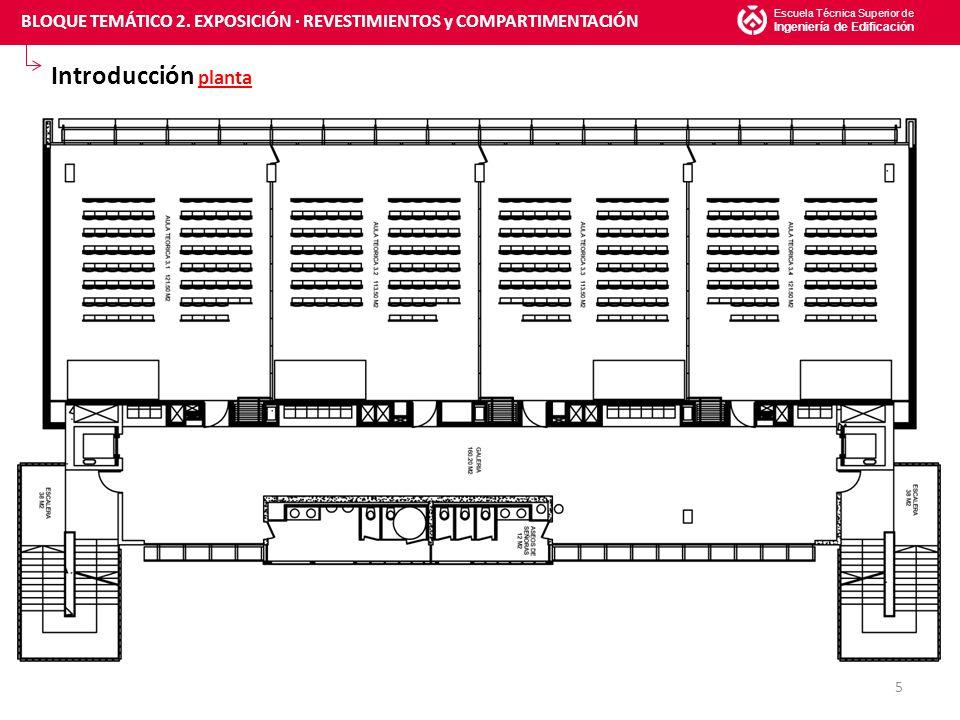 Índice de acabados ACABADOS DE INTERIOR AULA (2/2) Escuela Técnica Superior de Ingeniería de Edificación 26 INTERIORES AULAS GALERÍA ASEOS EXTERIORES FACHADA NORTE FACHADA OESTE BLOQUE TEMÁTICO 2.