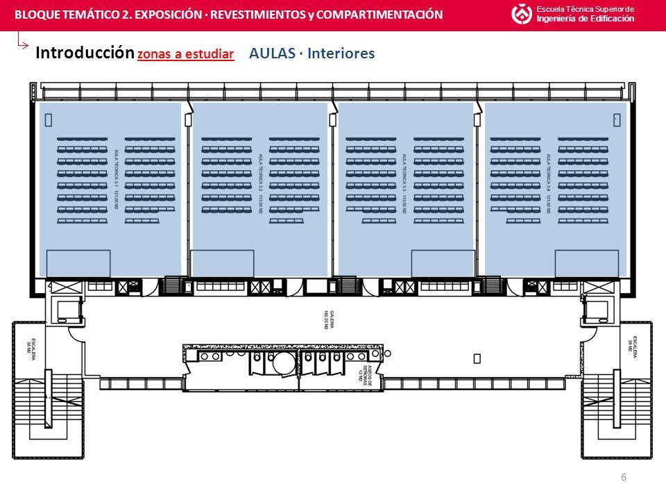Introducción zonas a estudiar AULAS · Interiores Escuela Técnica Superior de Ingeniería de Edificación 6 BLOQUE TEMÁTICO 2.