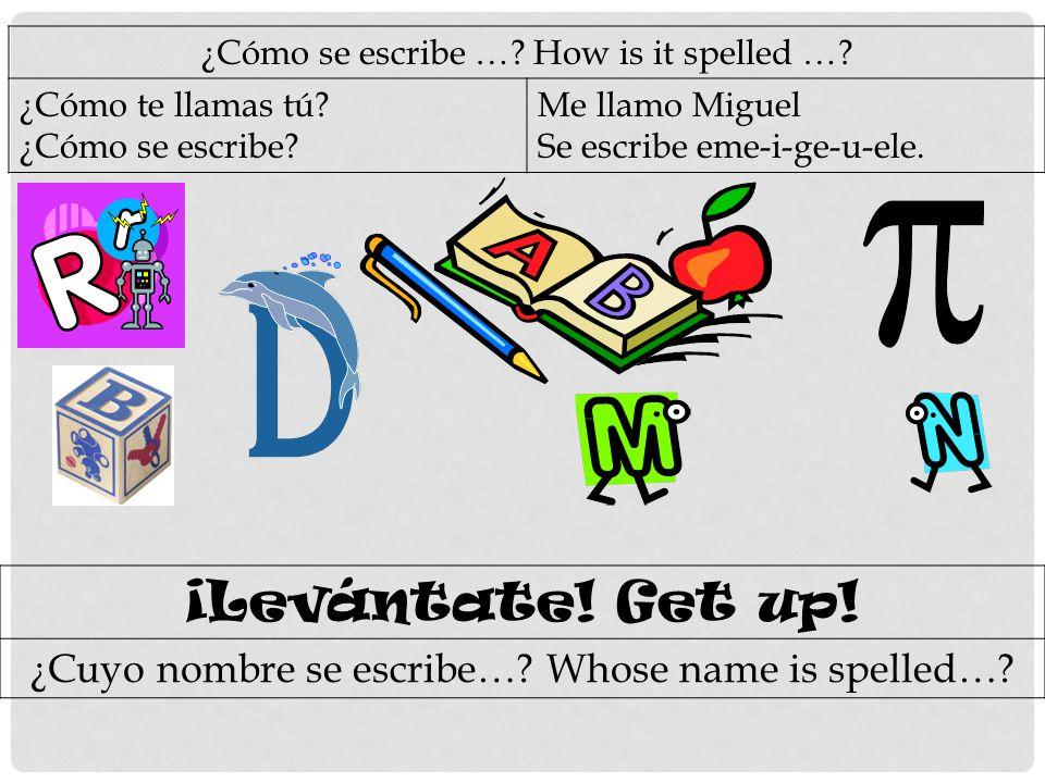 ¿Cómo se escribe …. How is it spelled …. ¿Cómo te llamas tú.