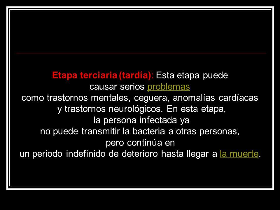 Etapa terciaria (tardía): Esta etapa puede causar serios problemasproblemas como trastornos mentales, ceguera, anomalías cardíacas y trastornos neurológicos.