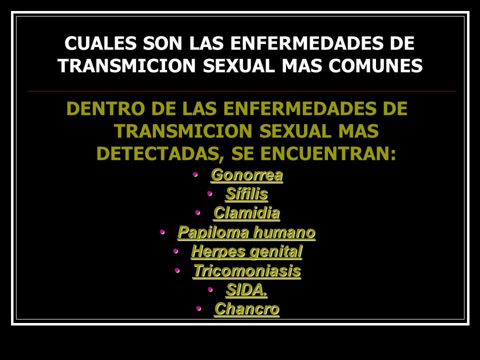 CUALES SON LAS ENFERMEDADES DE TRANSMICION SEXUAL MAS COMUNES DENTRO DE LAS ENFERMEDADES DE TRANSMICION SEXUAL MAS DETECTADAS, SE ENCUENTRAN: GonorreaGonorreaGonorrea SífilisSífilisSífilis ClamidiaClamidiaClamidia Papiloma humanoPapiloma humanoPapiloma humanoPapiloma humano Herpes genitalHerpes genitalHerpes genitalHerpes genital TricomoniasisTricomoniasisTricomoniasis SIDA.SIDA.SIDA.