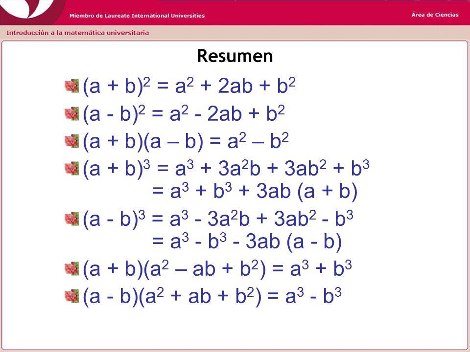 Resumen (a + b) 2 = a 2 + 2ab + b 2 (a - b) 2 = a 2 - 2ab + b 2 (a + b)(a – b) = a 2 – b 2 (a + b) 3 = a 3 + 3a 2 b + 3ab 2 + b 3 = a 3 + b 3 + 3ab (a + b) (a - b) 3 = a 3 - 3a 2 b + 3ab 2 - b 3 = a 3 - b 3 - 3ab (a - b) (a + b)(a 2 – ab + b 2 ) = a 3 + b 3 (a - b)(a 2 + ab + b 2 ) = a 3 - b 3