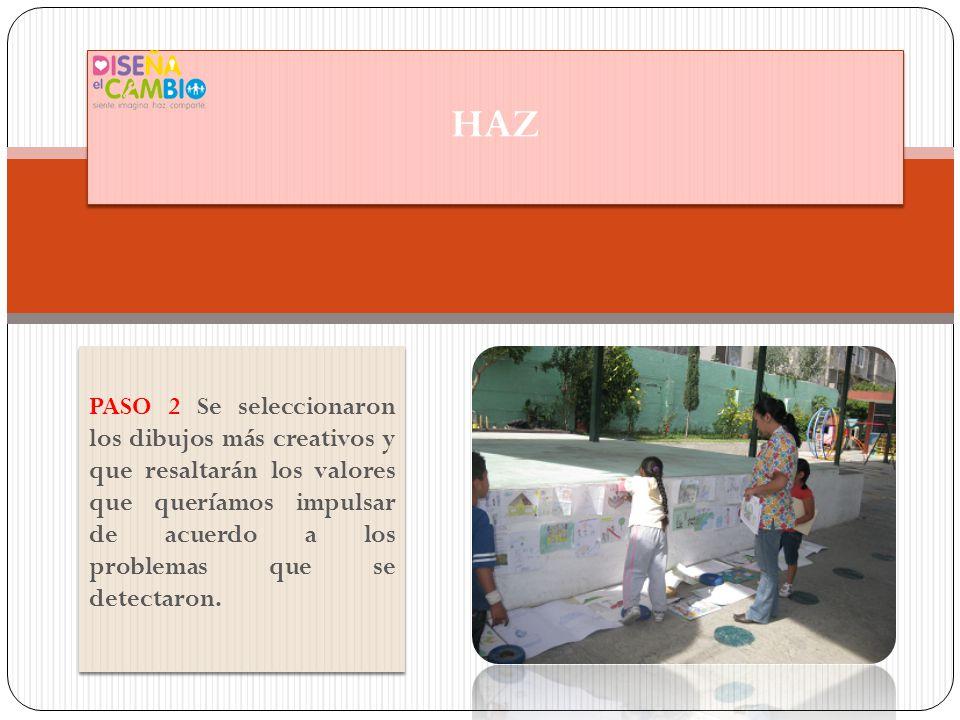 PASO 3 Se invitó a padres de familia a plasmar su dibujo en grande en una pared del patio del jardín de niños.