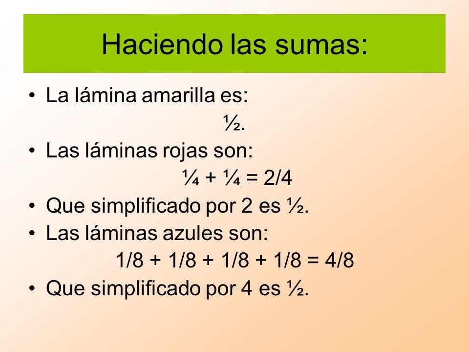 Haciendo las sumas: La lámina amarilla es: ½. Las láminas rojas son: ¼ + ¼ = 2/4 Que simplificado por 2 es ½. Las láminas azules son: 1/8 + 1/8 + 1/8