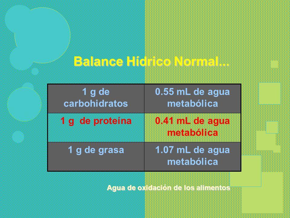 Balance Hídrico Normal Ingresos Lactantes mL /k / 24 hs. Niños mayores mL /m2 SC / 24 hs. Vía oral100 - 1301,000 – 1,600 Agua de Oxidación 10 -12200 T
