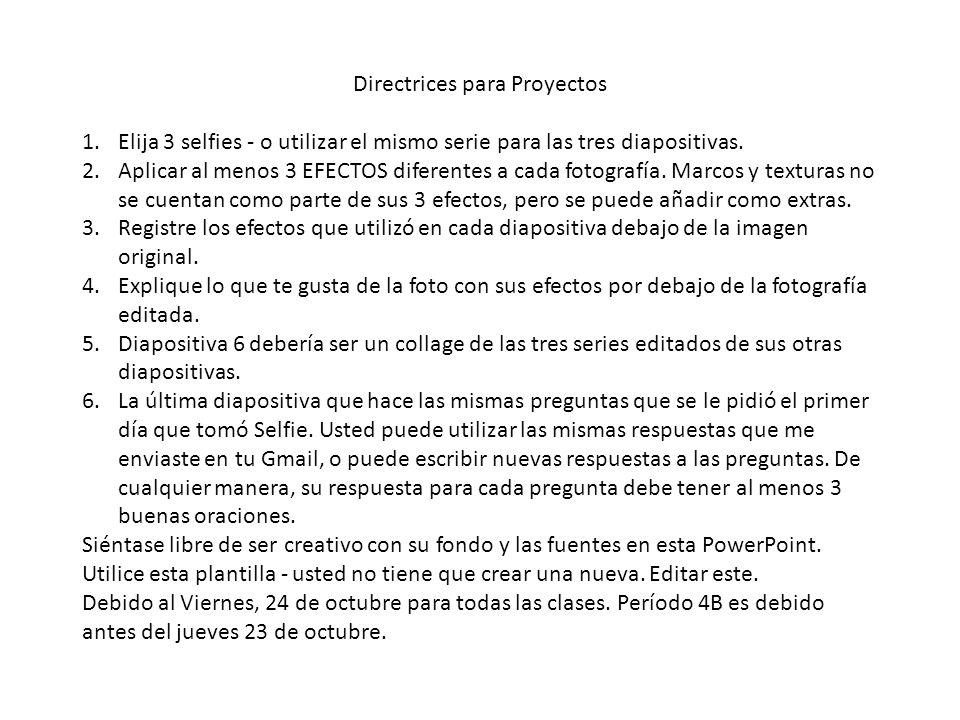 Directrices para Proyectos 1.Elija 3 selfies - o utilizar el mismo serie para las tres diapositivas.