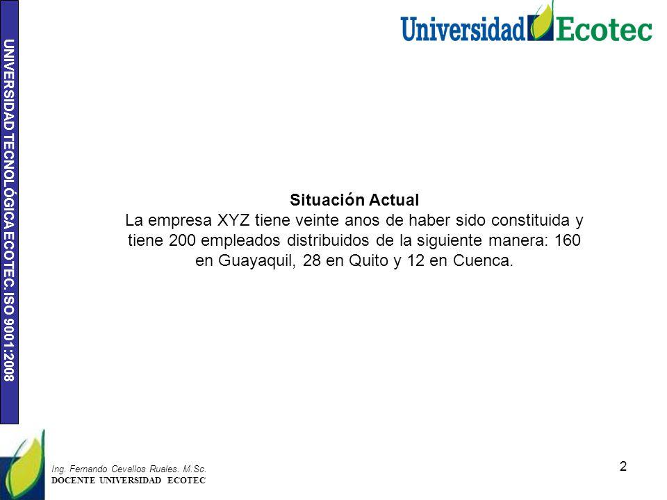 UNIVERSIDAD TECNOLÓGICA ECOTEC. ISO 9001:2008 2 Ing.