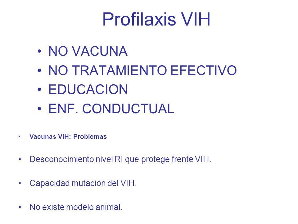Profilaxis VIH NO VACUNA NO TRATAMIENTO EFECTIVO EDUCACION ENF.
