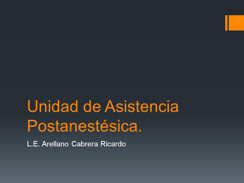 Unidad de Asistencia Postanestésica. L.E. Arellano Cabrera Ricardo