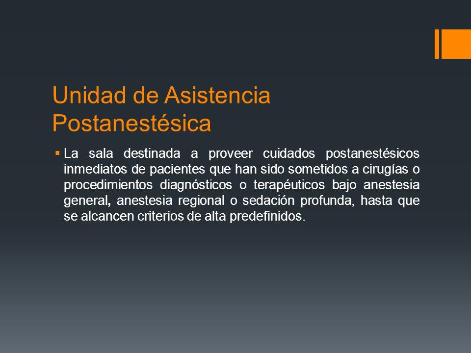 Unidad de Asistencia Postanestésica  La sala destinada a proveer cuidados postanestésicos inmediatos de pacientes que han sido sometidos a cirugías o