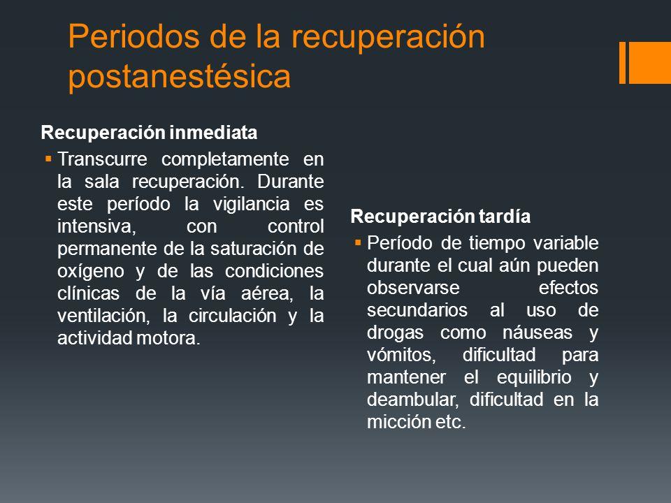 Periodos de la recuperación postanestésica Recuperación inmediata  Transcurre completamente en la sala recuperación. Durante este período la vigilanc
