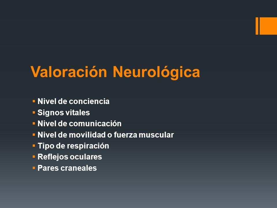 Valoración Neurológica  Nivel de conciencia  Signos vitales  Nivel de comunicación  Nivel de movilidad o fuerza muscular  Tipo de respiración  R