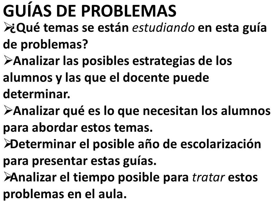 GUÍAS DE PROBLEMAS ¿¿Qué temas se están estudiando en esta guía de problemas.
