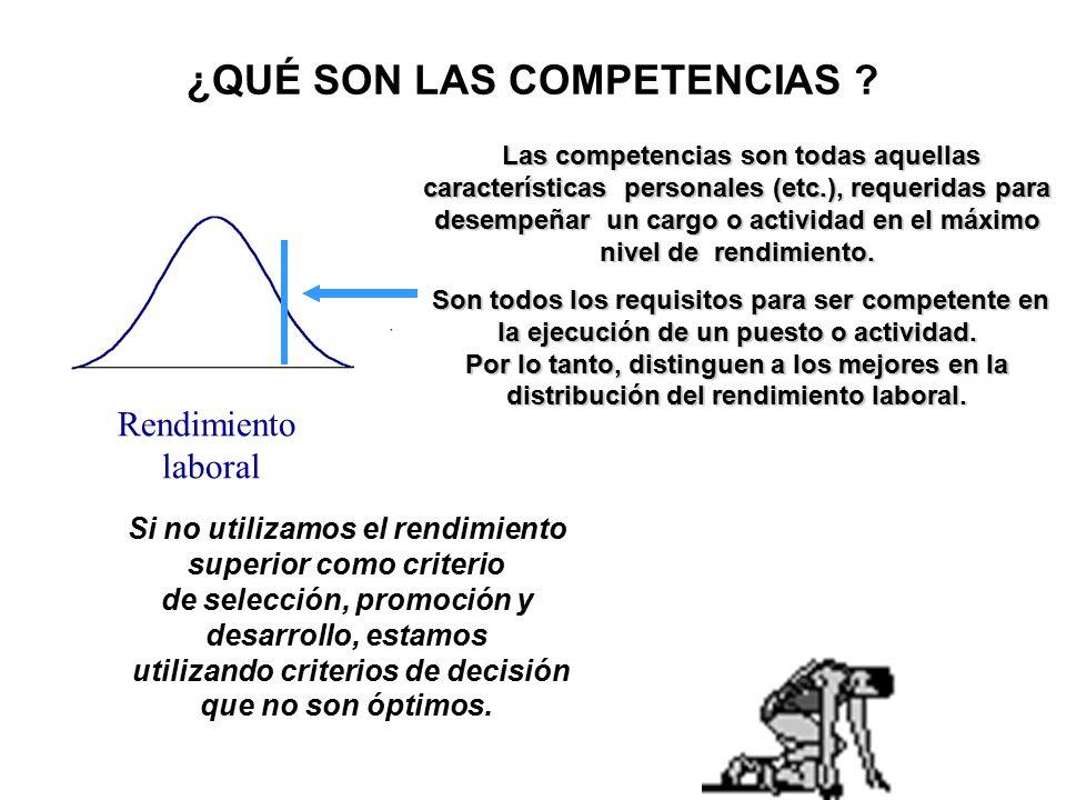 Conductas laborales Conocimientos Destrezas & Habilidades Capacidades & Aptitudes Rasgos de Personalidad Motivaciones, Intereses, Valores, Actitudes, etc.