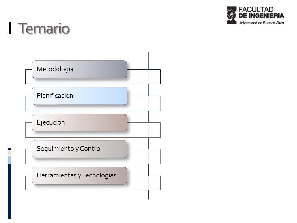 Temario MetodologíaPlanificaciónEjecuciónSeguimiento y ControlHerramientas y Tecnologías