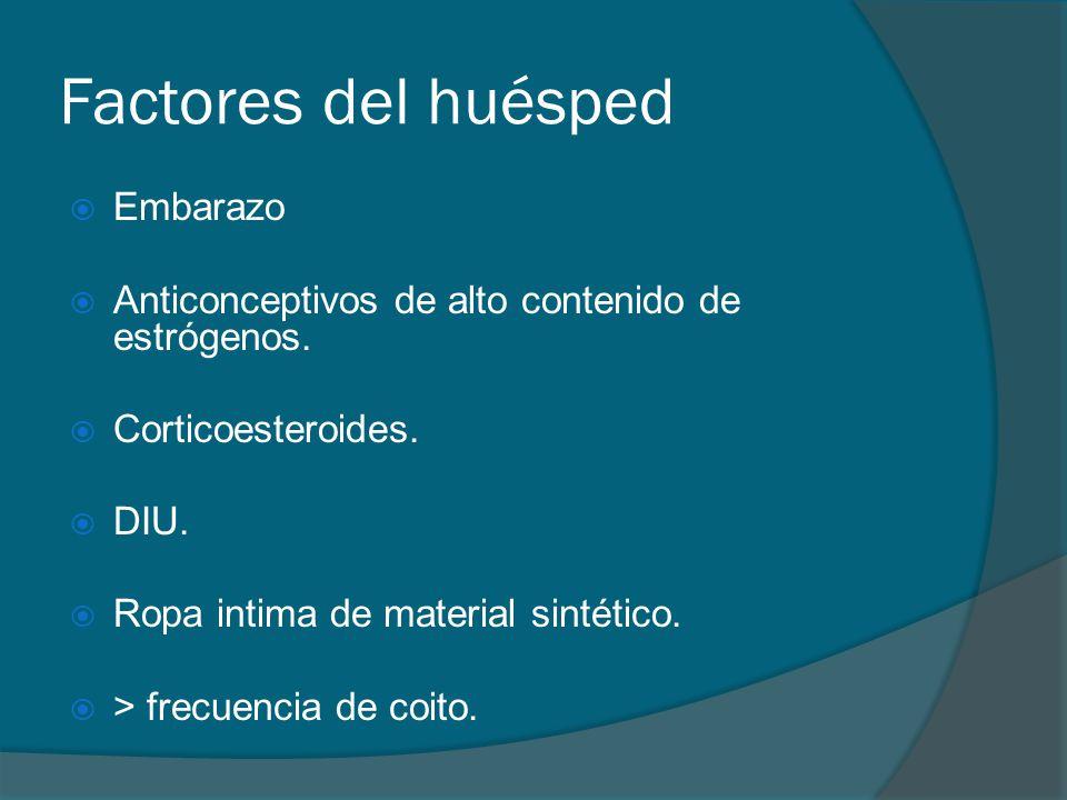 Factores del huésped  Embarazo  Anticonceptivos de alto contenido de estrógenos.  Corticoesteroides.  DIU.  Ropa intima de material sintético. 