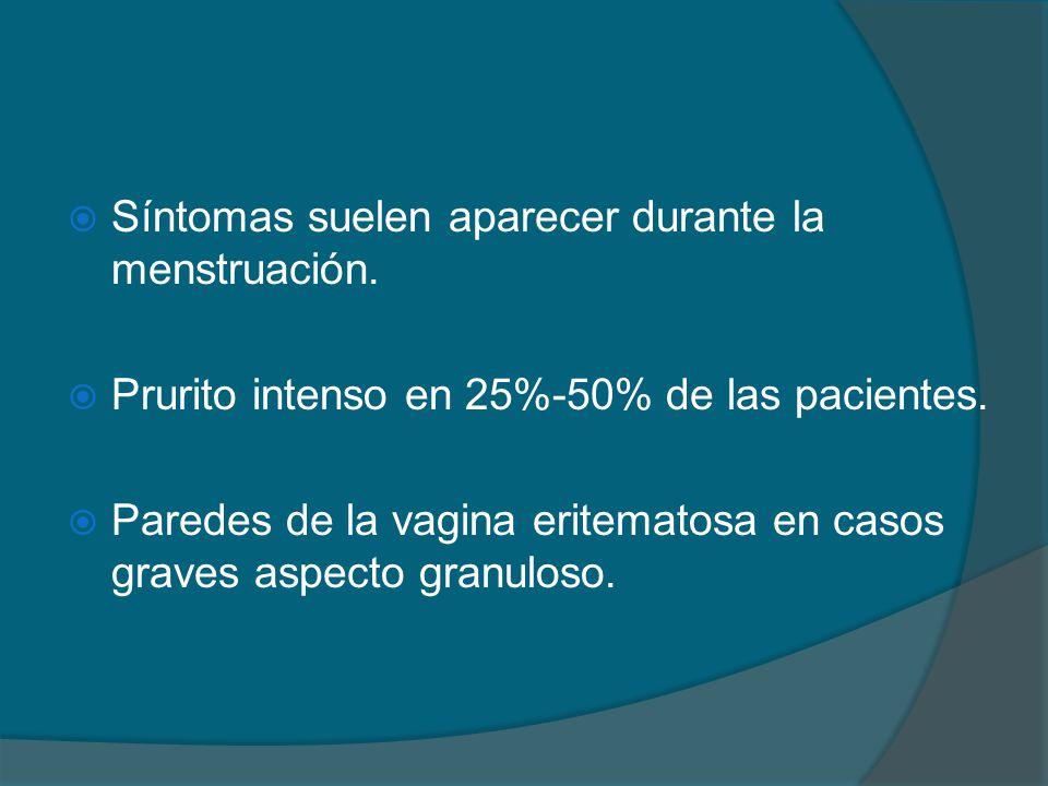  Síntomas suelen aparecer durante la menstruación.  Prurito intenso en 25%-50% de las pacientes.  Paredes de la vagina eritematosa en casos graves