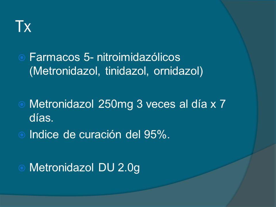 Tx  Farmacos 5- nitroimidazólicos (Metronidazol, tinidazol, ornidazol)  Metronidazol 250mg 3 veces al día x 7 días.  Indice de curación del 95%. 