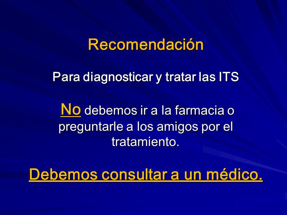 Recomendación Para diagnosticar y tratar las ITS No debemos ir a la farmacia o preguntarle a los amigos por el tratamiento.