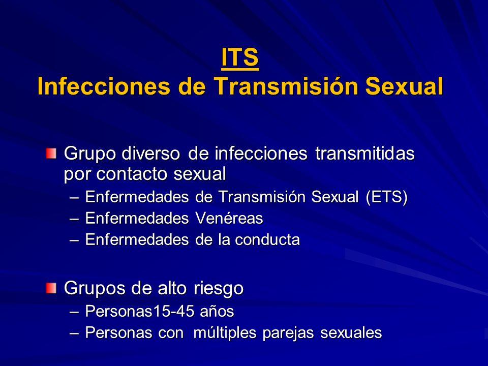 ITS Infecciones de Transmisión Sexual Grupo diverso de infecciones transmitidas por contacto sexual –Enfermedades de Transmisión Sexual (ETS) –Enfermedades Venéreas –Enfermedades de la conducta Grupos de alto riesgo –Personas15-45 años –Personas con múltiples parejas sexuales