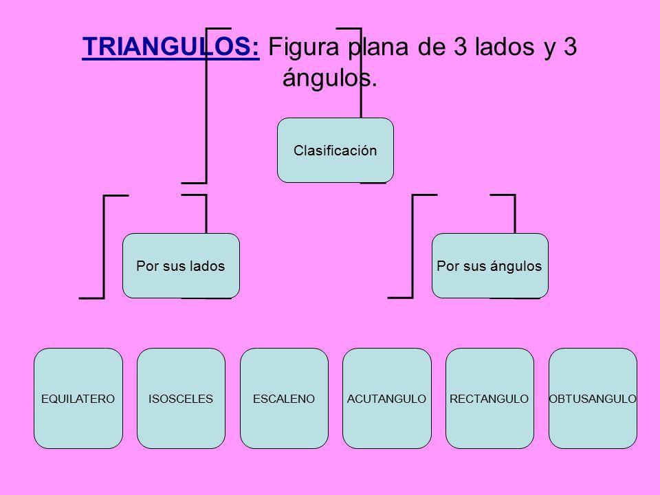 TRIANGULOS: Figura plana de 3 lados y 3 ángulos.