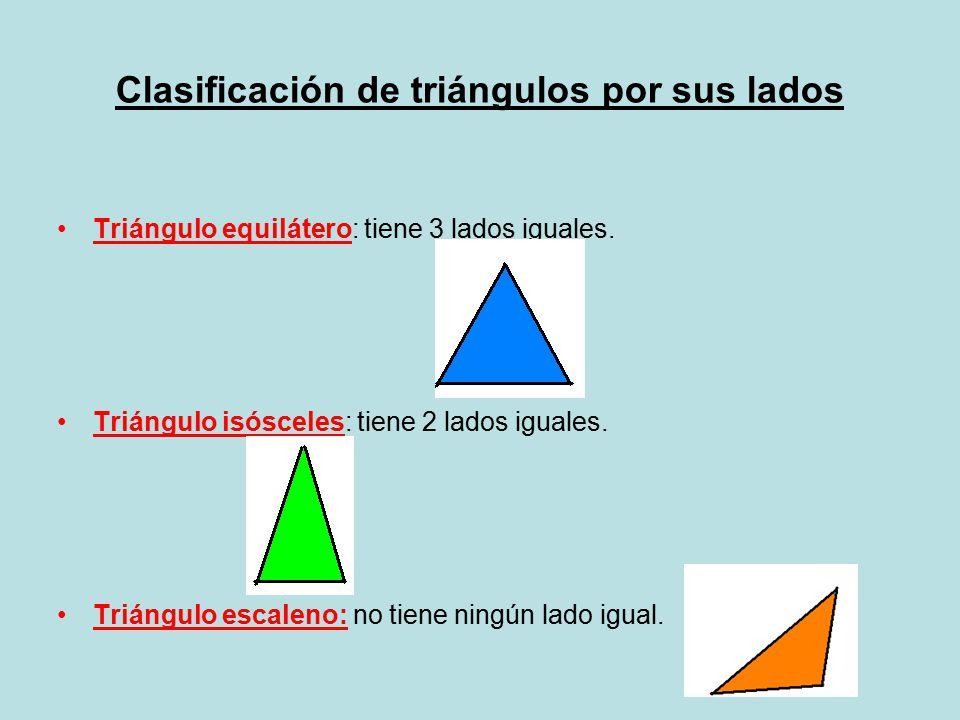 Clasificación de triángulos por sus ángulos Triángulo acutángulo: tiene 3 ángulos agudos (menor de 90º) Triángulo rectángulo: tiene 1 ángulo recto (igual a 90º) Triángulo obtusángulo: tiene 1 ángulo obtuso (mayor de 90º)  La suma de los ángulos de un triángulo da 180º.