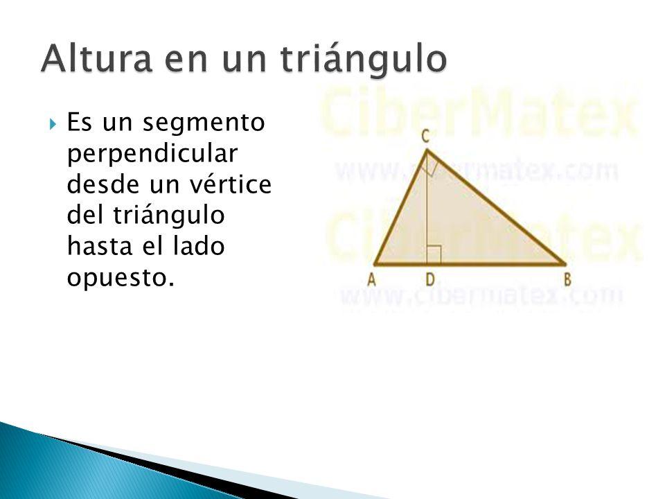  El punto donde se intersecan las tres alturas se conoce como ORTOCENTRO