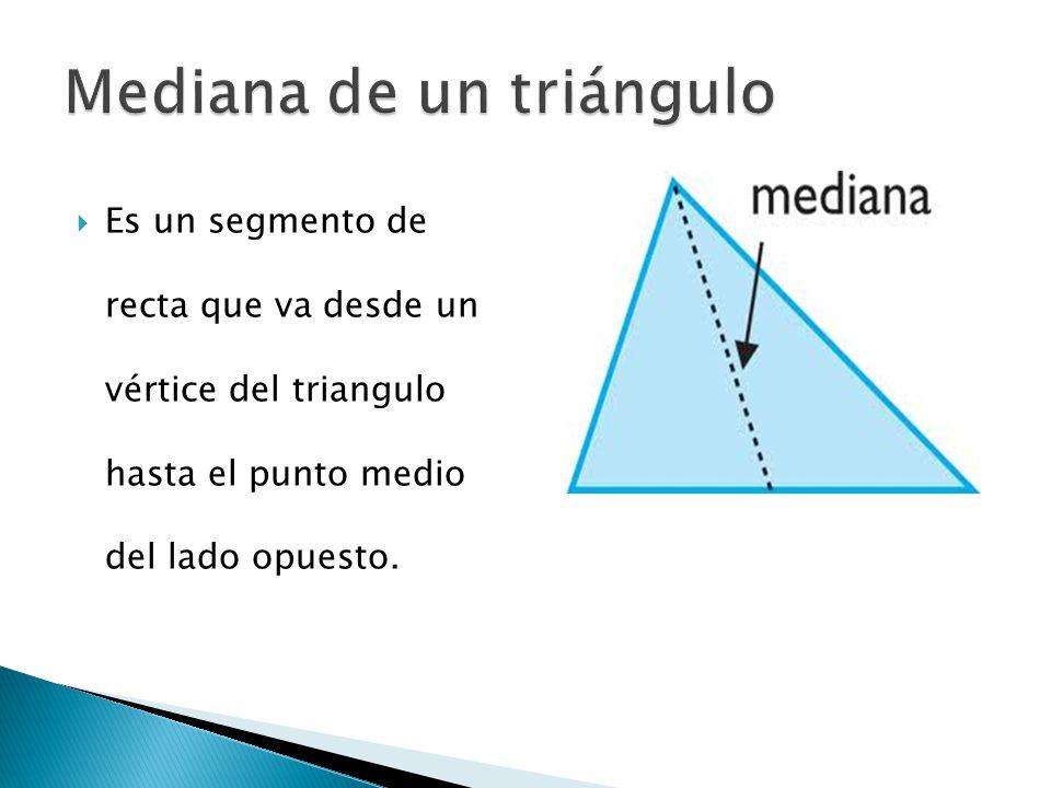  Las tres medianas de un triangulo son siempre congruentes y su punto de intersección se conoce como BARICENTRO