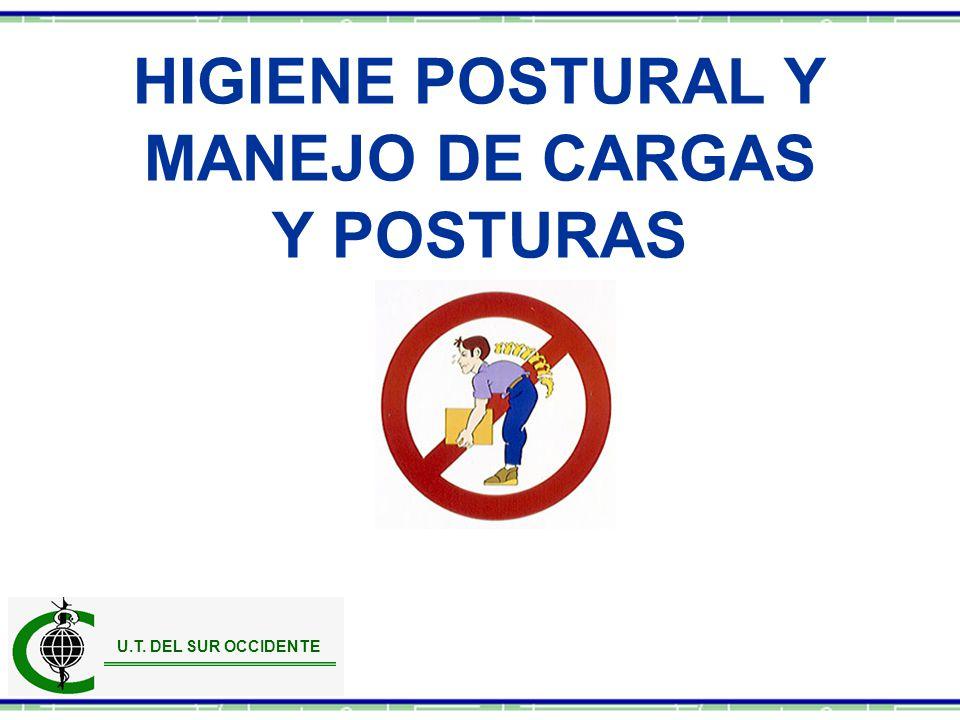 HIGIENE POSTURAL Y MANEJO DE CARGAS Y POSTURAS U.T. DEL SUR OCCIDENTE